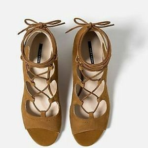 Zara | NWOT Tan Suede Lace Up Wedges | 8